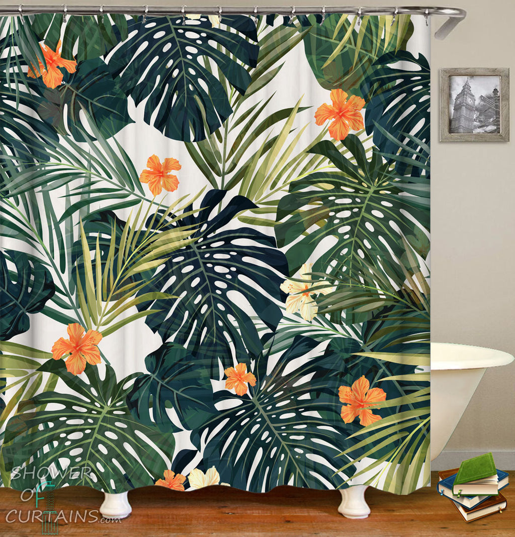 Hibiscus Shower Curtain of Hibiscus And Green Leaves