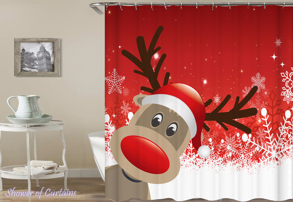 Holiday Shower Curtains Christmas of Cute Cartoon Reindeer Shower Curtain