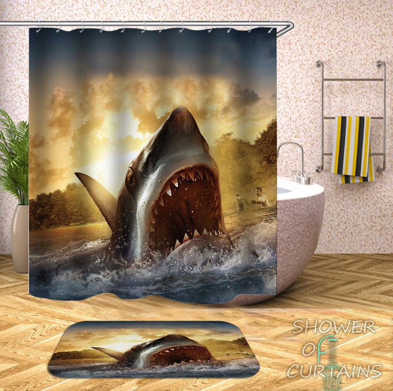 Horrifying Shark Shower Curtain