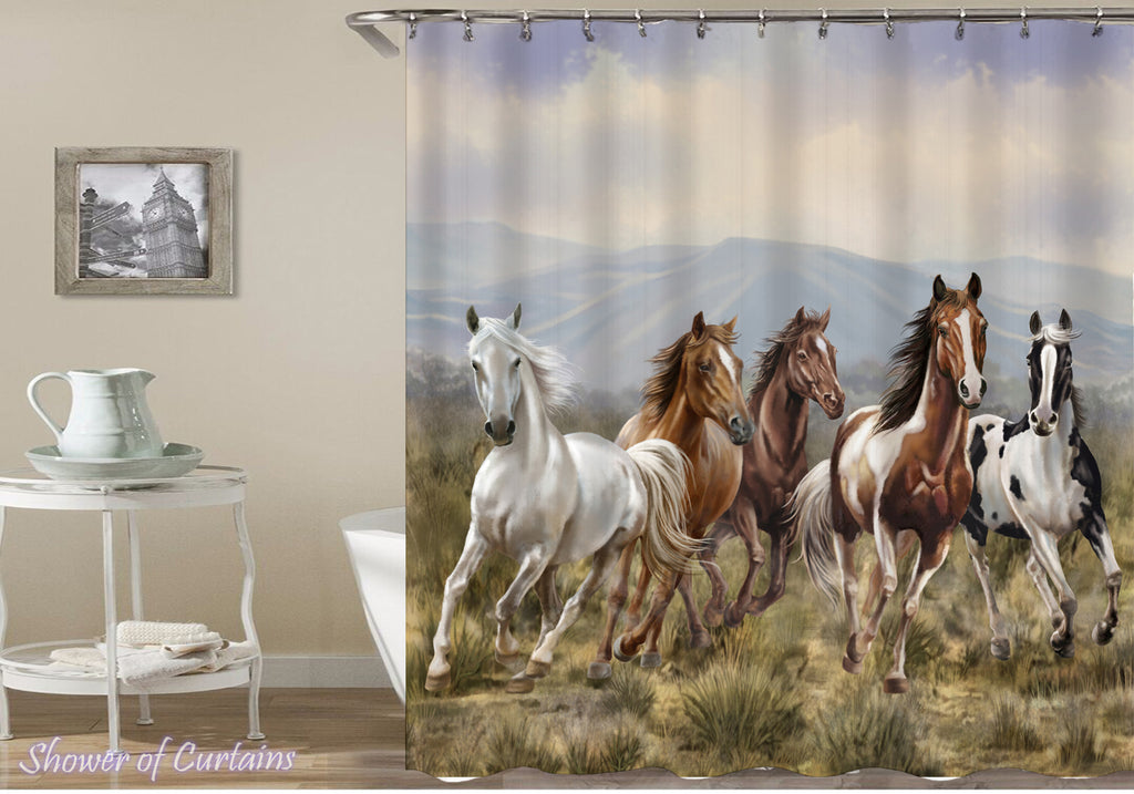 Horse Shower Curtain - Wild Horses