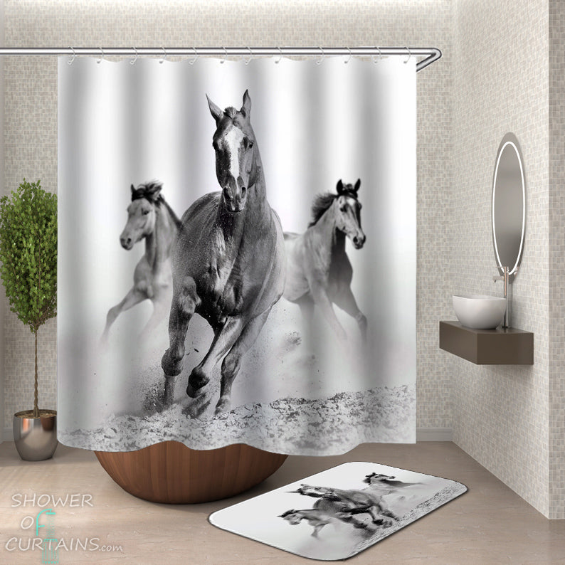 Horse Shower Curtain of Black And White Horses