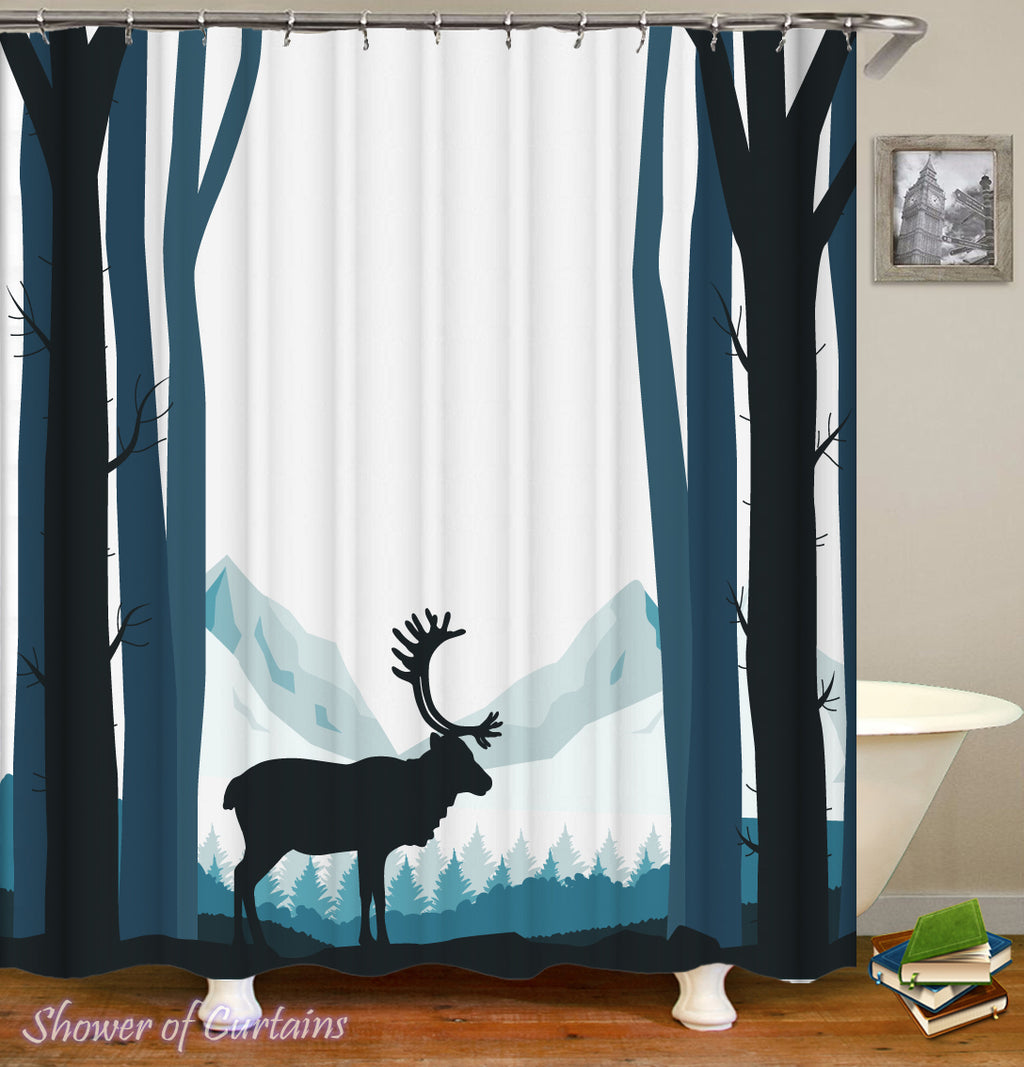 Hunters Shower Curtains - Reindeer Silhouette Shower Curtain