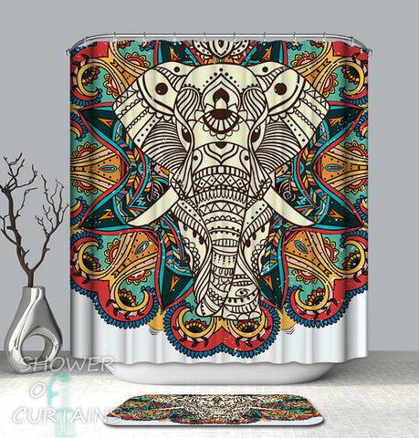 Indian-Persian Elephant Shower Curtains
