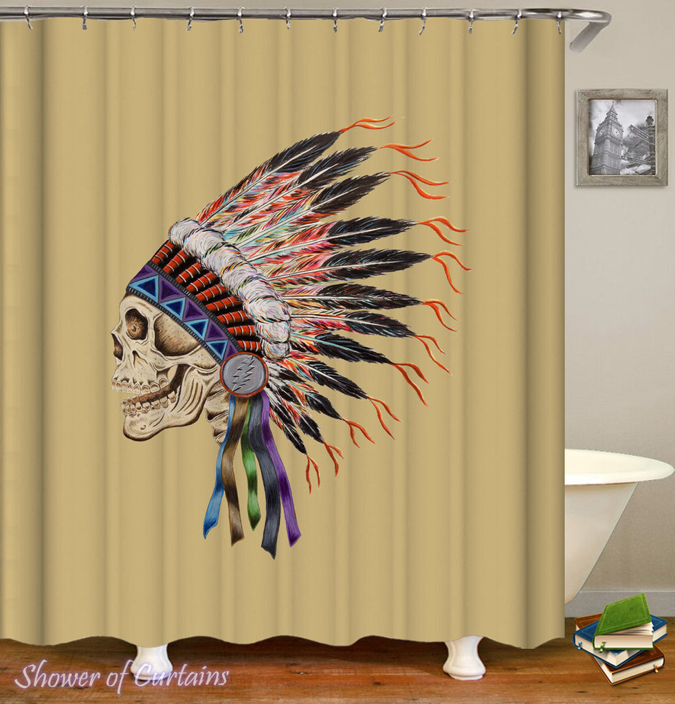 Indian Chief Skull Shower Curtain - Native American