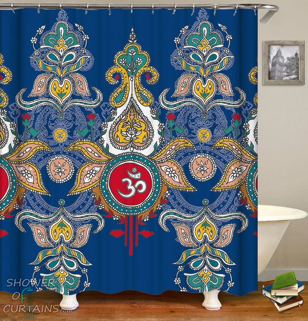 Indian Shower Curtains - Indian Style Ornaments