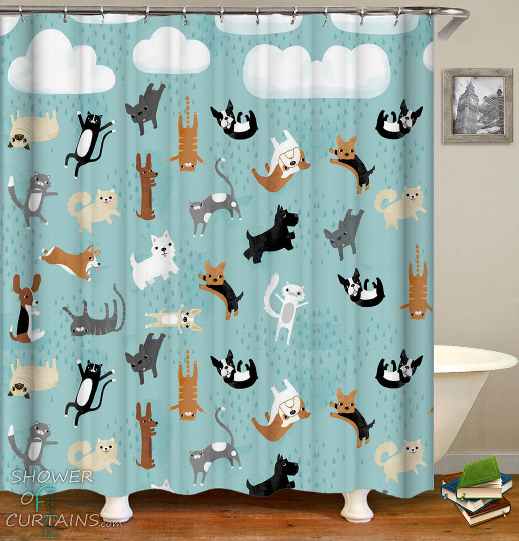 It's Raining Pets Shower Curtain_Dogs and Cats Shower Curtain