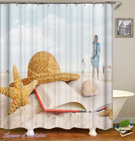 Its beach time - shower curtain design