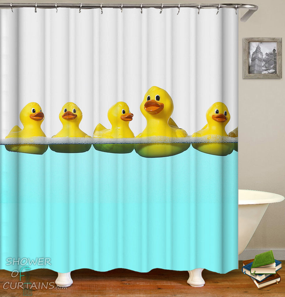 Kid's Shower Curtains of Swimming Rubber Duck Shower Curtain