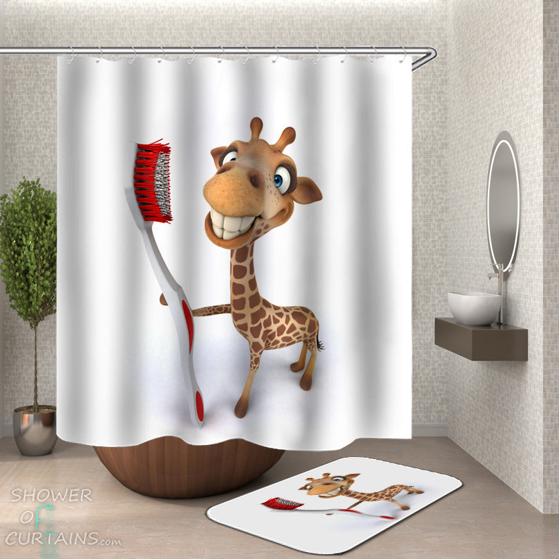 Kids Bathroom Decor of Cartoon Giraffe Shower Curtain and Bath Mat