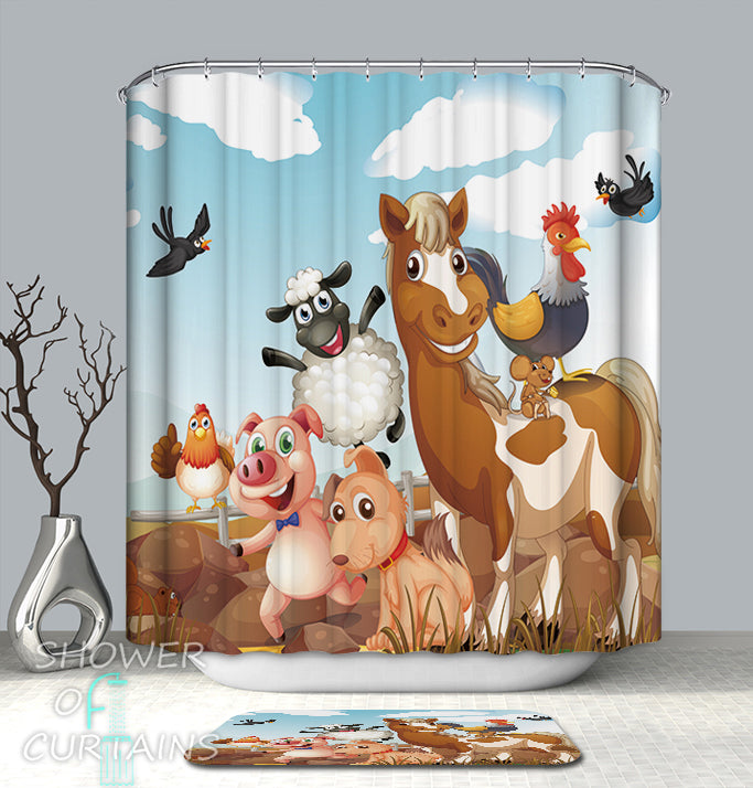 Kids' Shower Curtains of Friendly Farm Animals