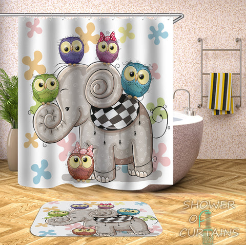 Kids' Shower Curtains - Adorable Owls And Elephant Shower Curtain
