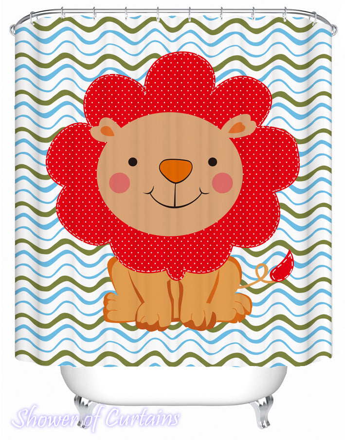 Kids' Shower Curtains - Children's Lion Drawing