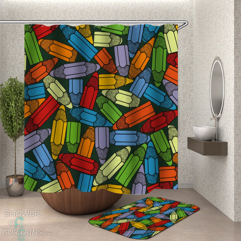 Kids Shower Curtains - Colorful Pencils Shower Curtain