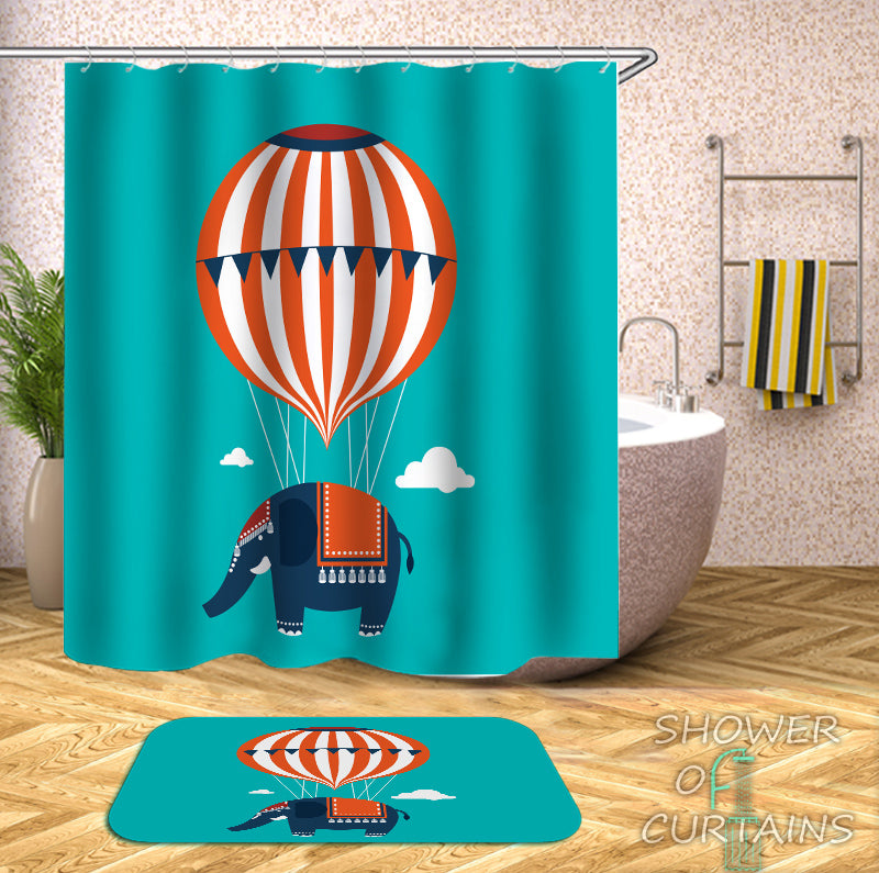 Kids Shower Curtains - Flying Elephant Shower Curtain