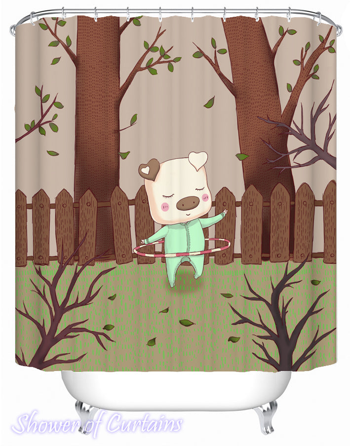 Kids' Shower Curtains - Hula Hoop Piggy
