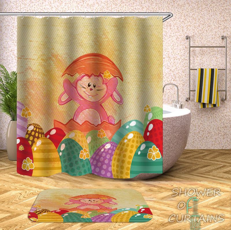 Kids Shower Curtains Friendly Easter Bunny