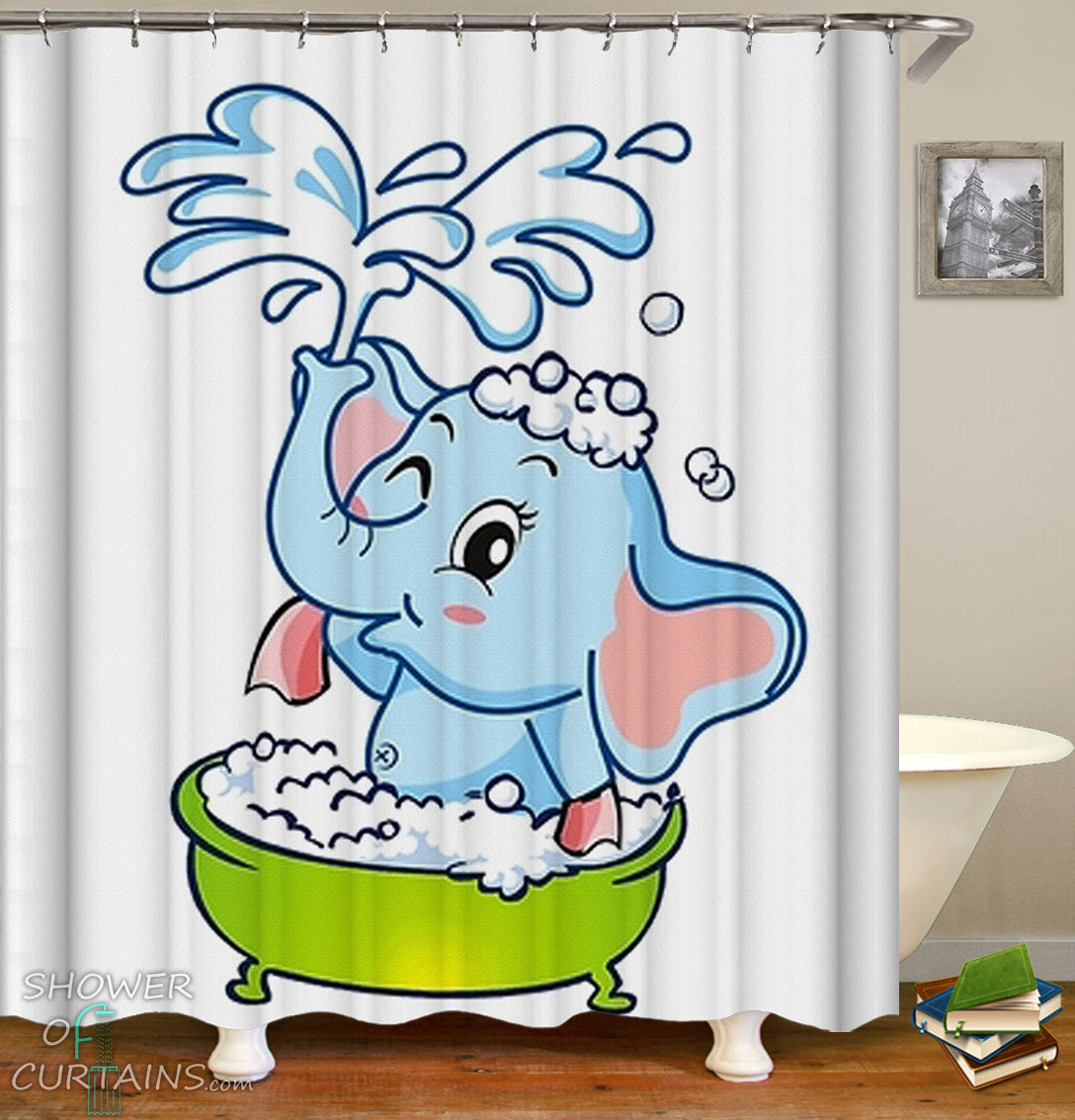 Kids Shower Curtains Of Baby Elephant Cartoon