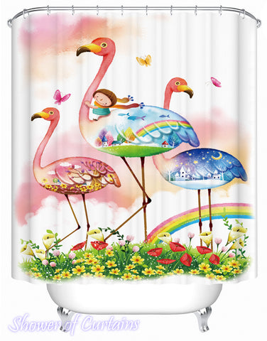 Kids Shower Curtains of Fairy Tale Flamingos Shower Curtain