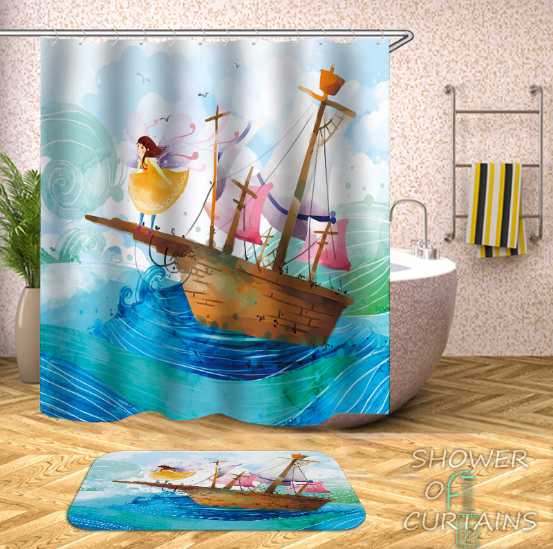 Kids' Shower Curtains of Fairy Tale Sailing