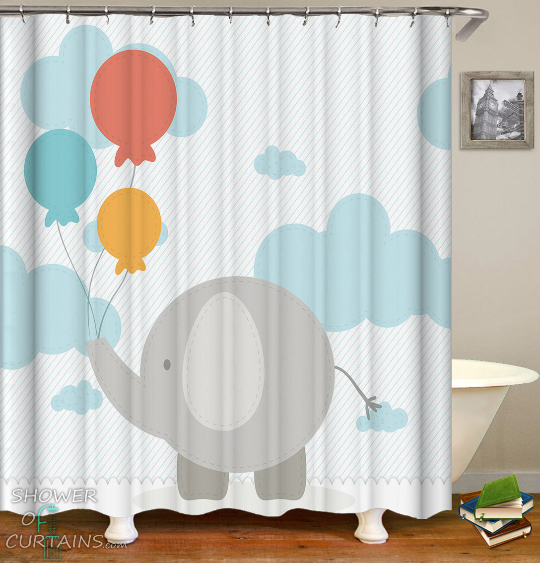 Kids Shower Curtains Of Elephant Character