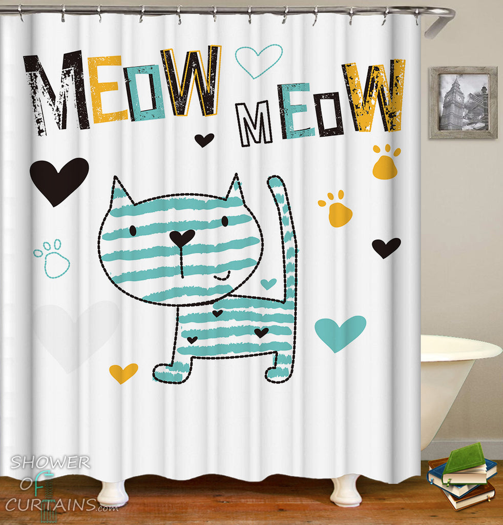 Kids Shower Curtains of Meow Cute Cat Drawing