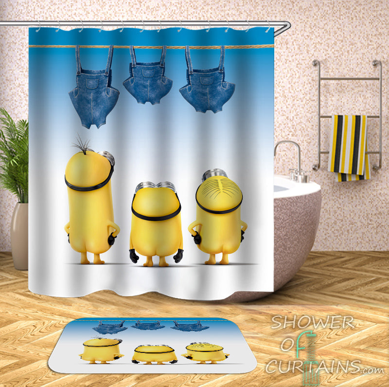 Kids Shower Curtains of Pants Drying Minions Shower Curtain