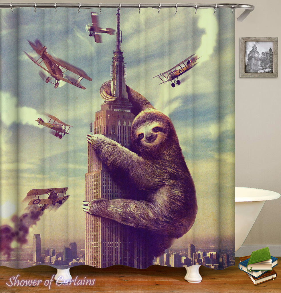 King Sloth Kong Themed Shower Curtain