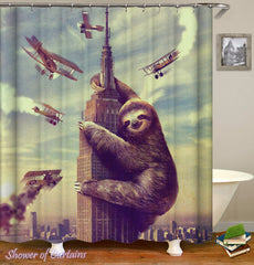 king-sloth-kong-shower-curtains