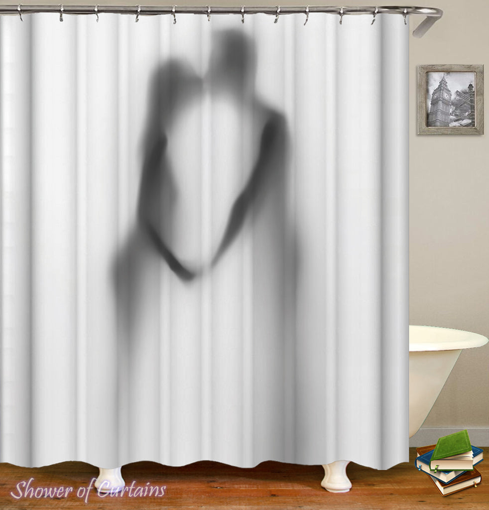 Shower Curtain of Kissing Couple Shadow