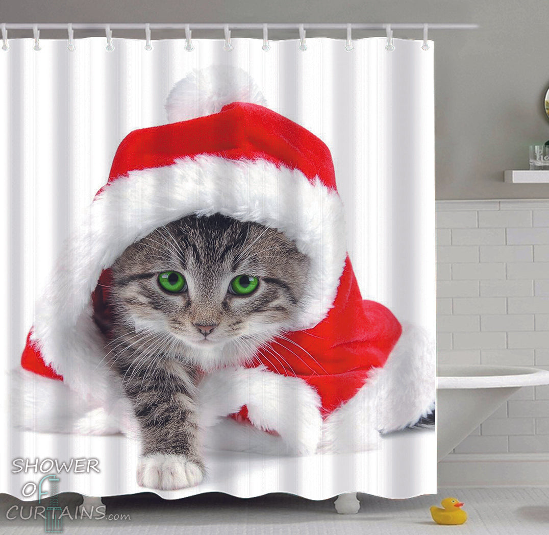 Christmas Shower Curtain.Kitten Is Ready For Christmas
