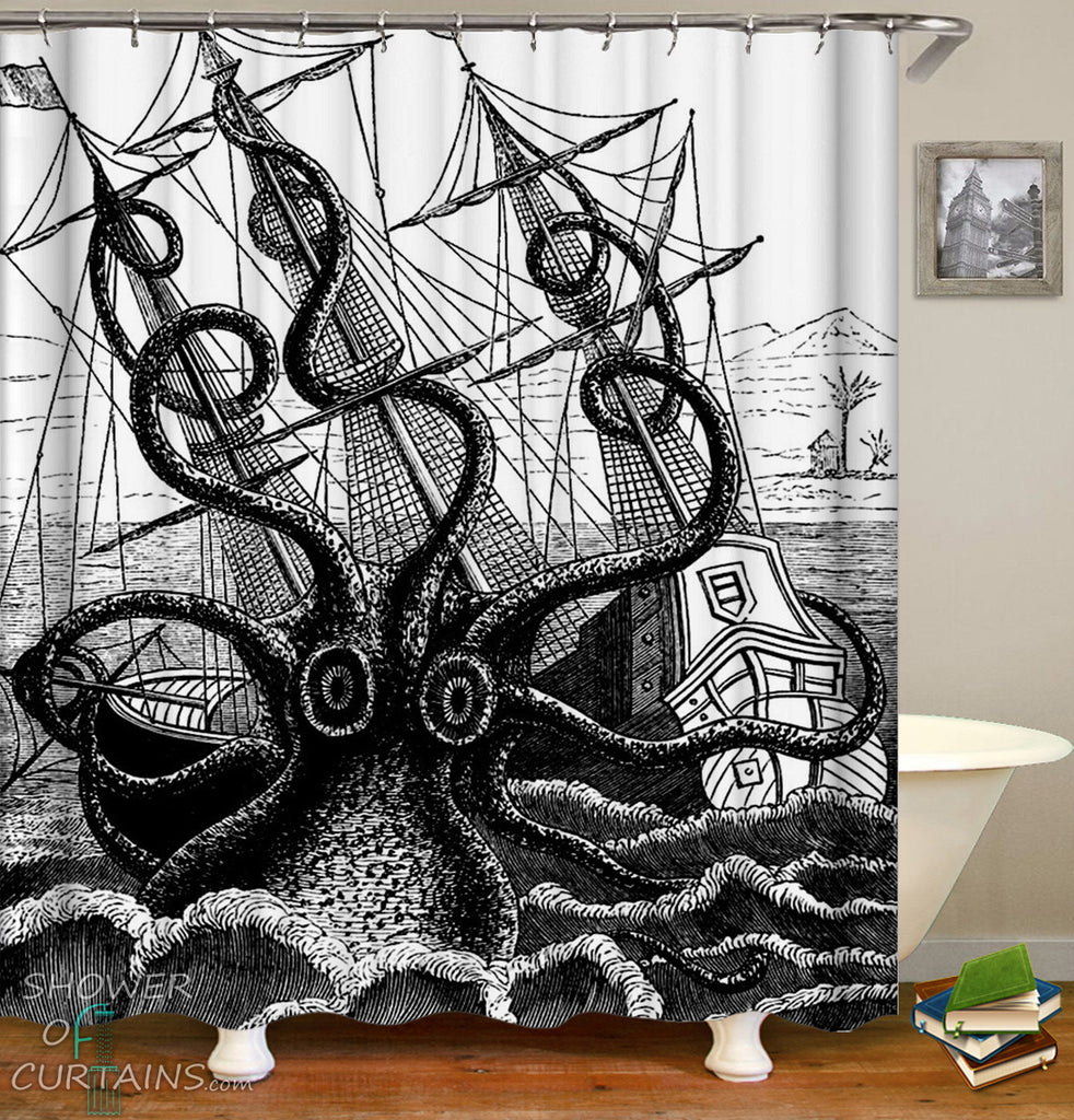 Kraken Shower Curtain - Black And White Kraken Attack