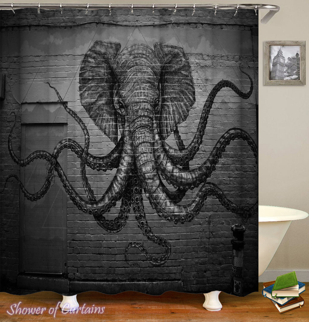 Kraken Shower Curtain - Elephant Octopus Monster