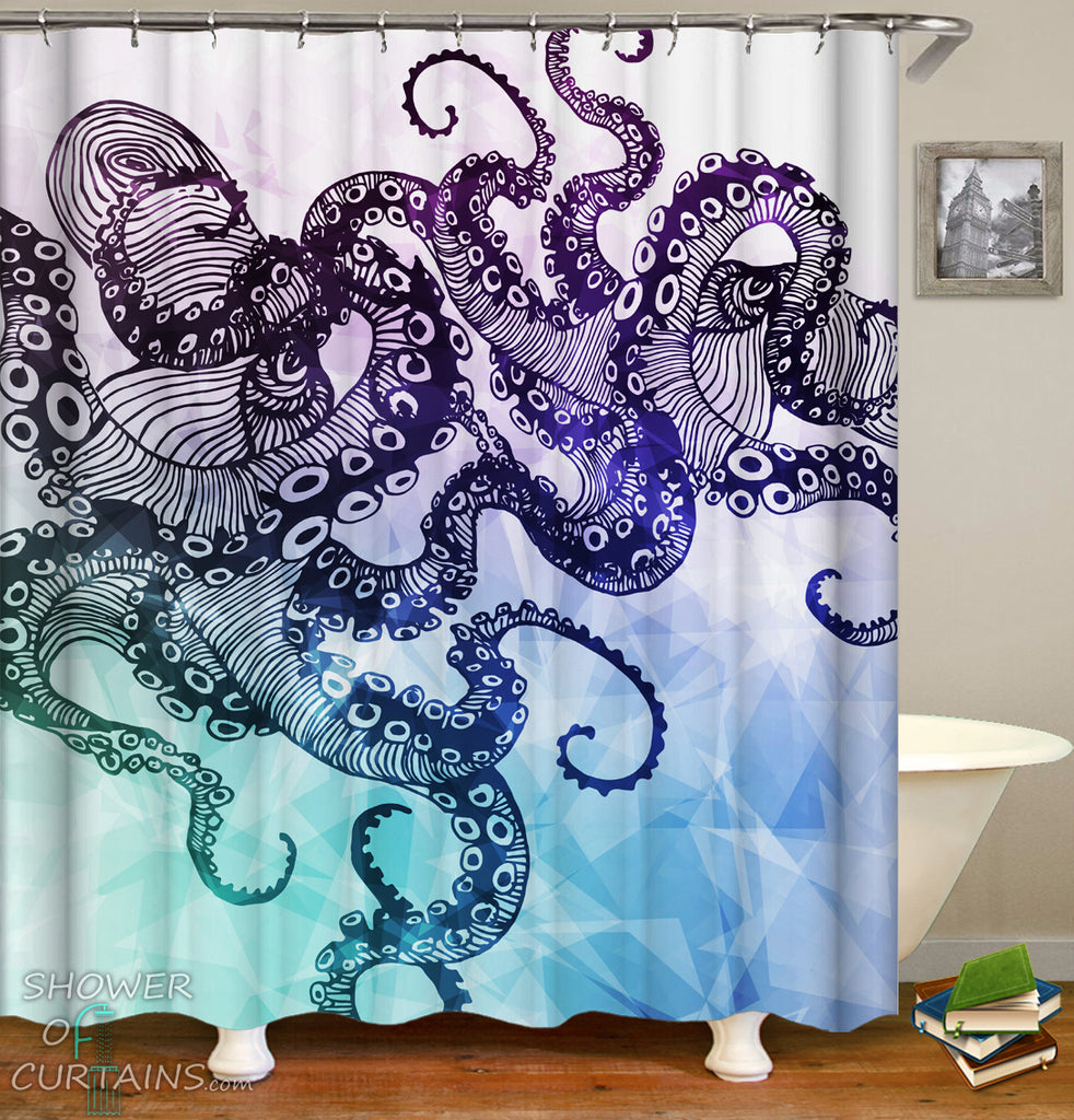 Kraken Shower Curtain of Purple Shades Kraken's Arms