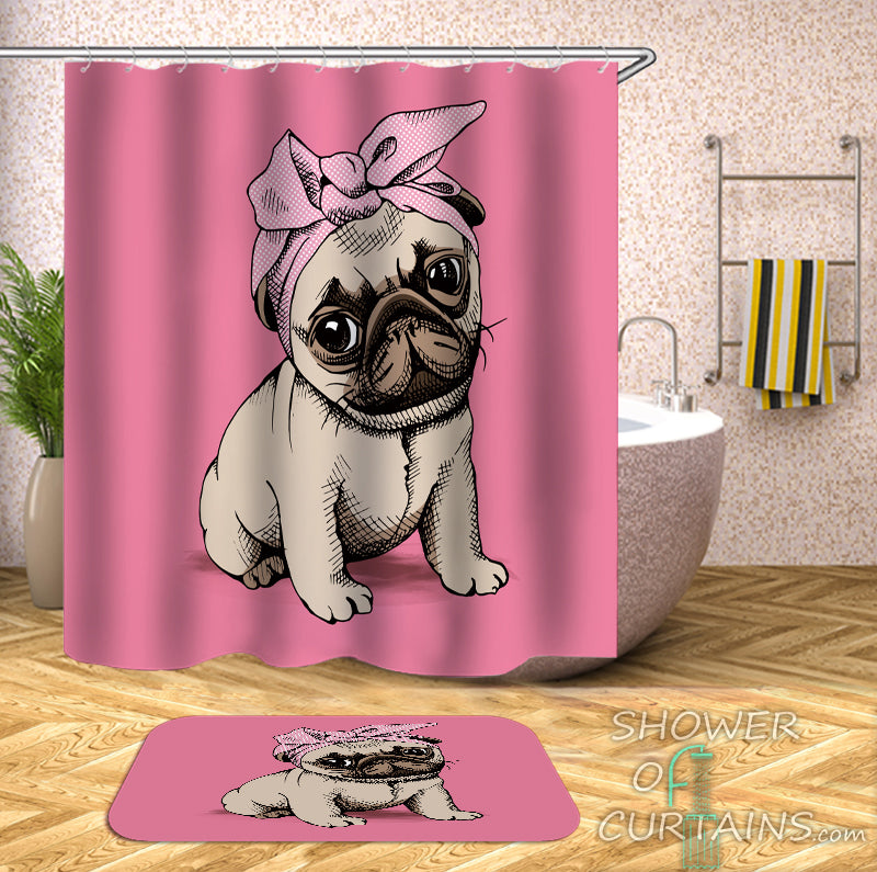 Lady Pug Dog Shower Curtain