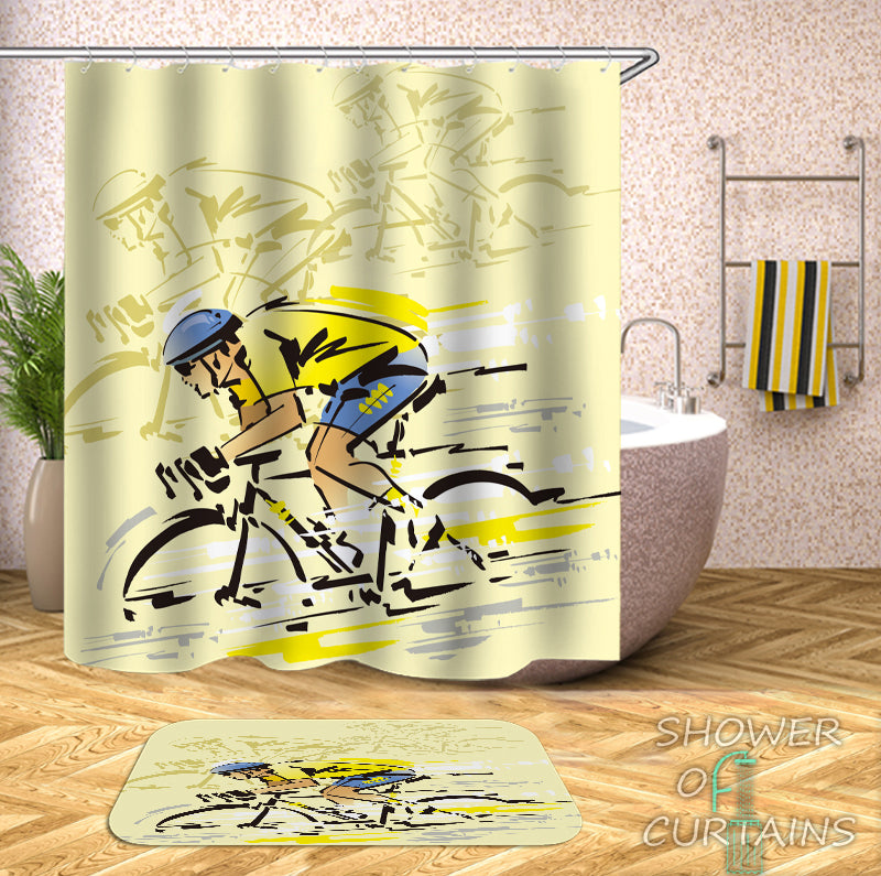 Le Tour de France Shower Curtain - Bicycle Shower Curtain