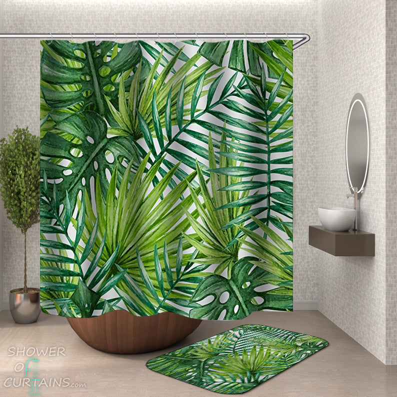 Leaf Shower Curtain - Green Leaves