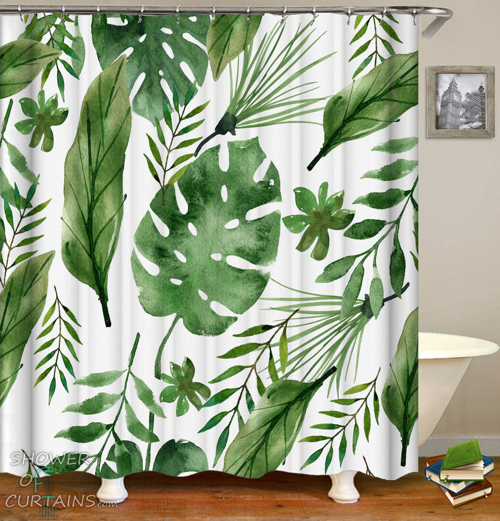 Leaf Shower Curtain - Simple Green Leaves Painting