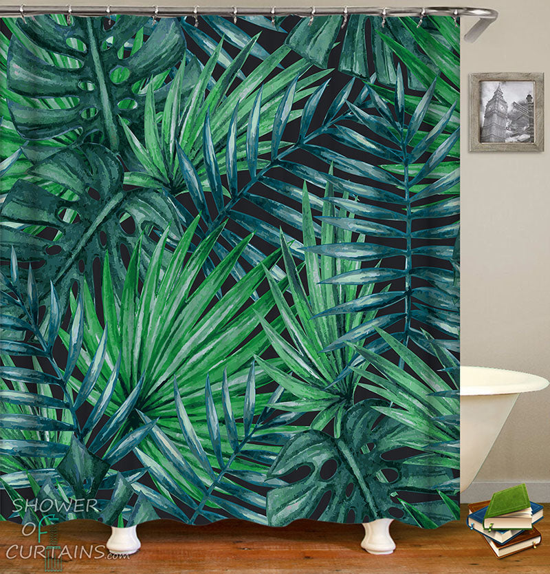 Leaf Shower Curtain of Palm Trees Leaves Over Black