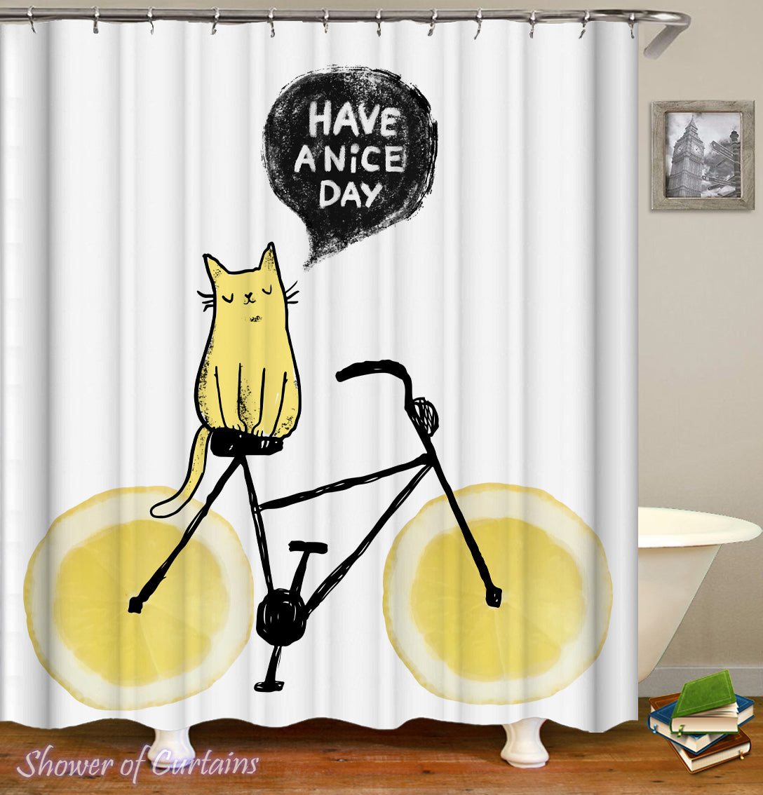 Lemon Bicycle Shower Curtain Fit Yellow Cat