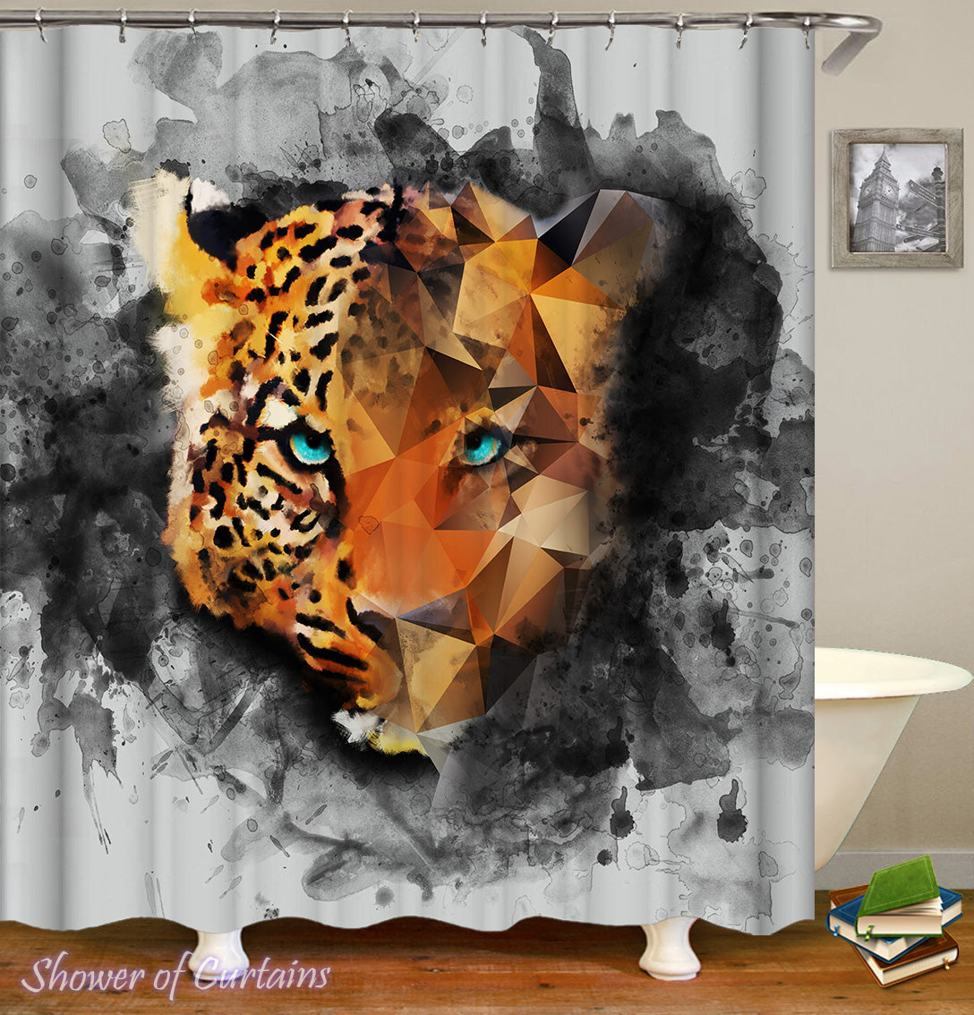 Leopard Shower Curtain With Stunning Eyes Drawing
