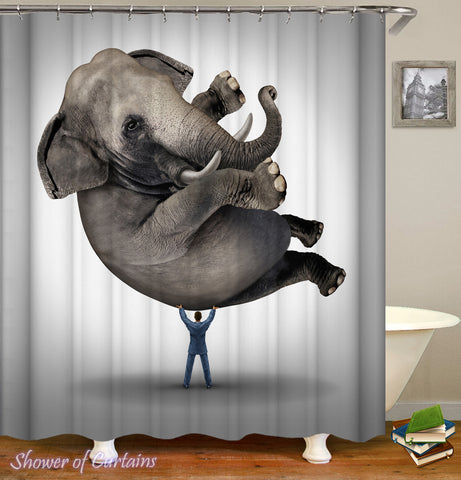 Lift An Elephant Shower Curtain - Funny Shower Curtains