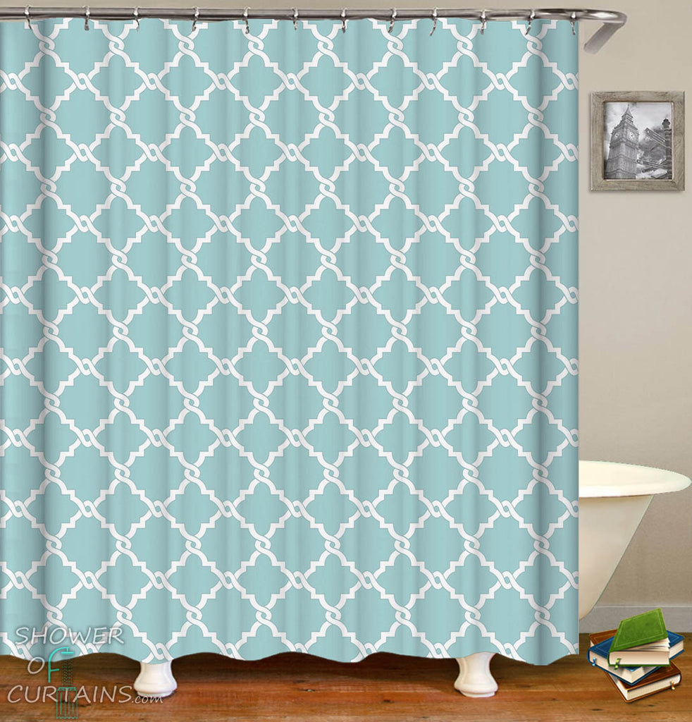 Light Blue Moroccan Design Shower Curtain - Moroccan Themed Bathroom