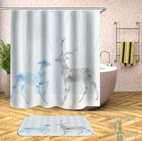 Light Colors Deer Painting Shower Curtain - Kids' And Art