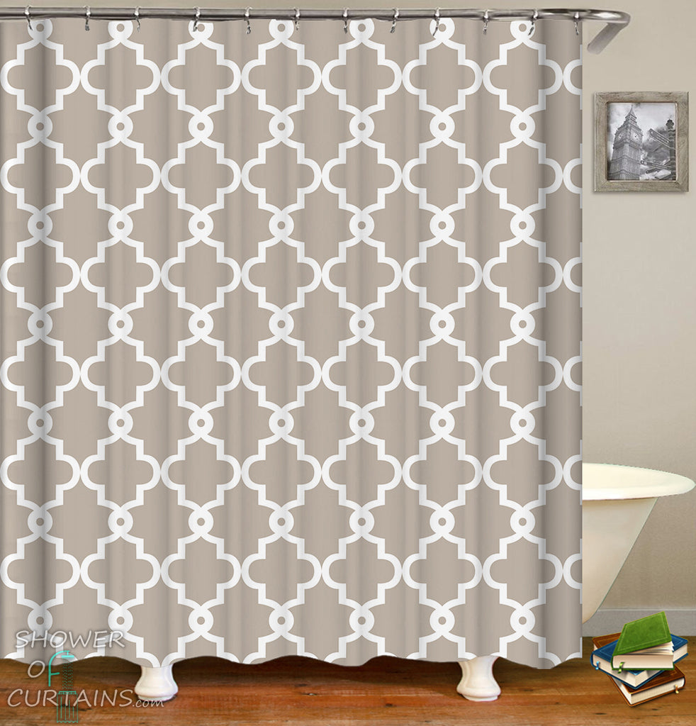 Light Grey Moroccan Shower Curtain