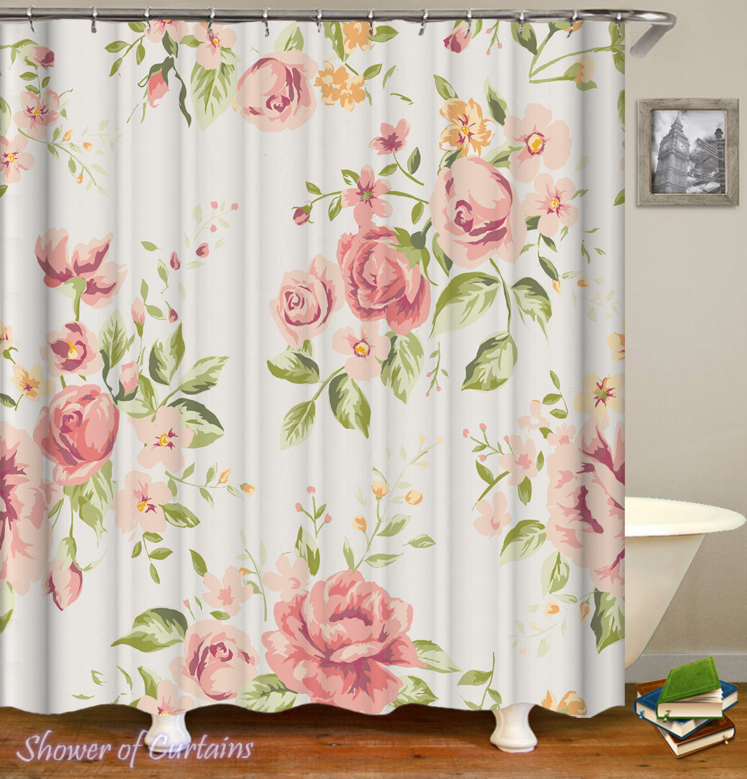 Shower Curtains | Light Pink Floral – Shower of Curtains