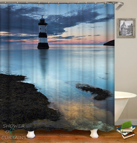 Lighthouse Shower Curtain - Lonely At Coast