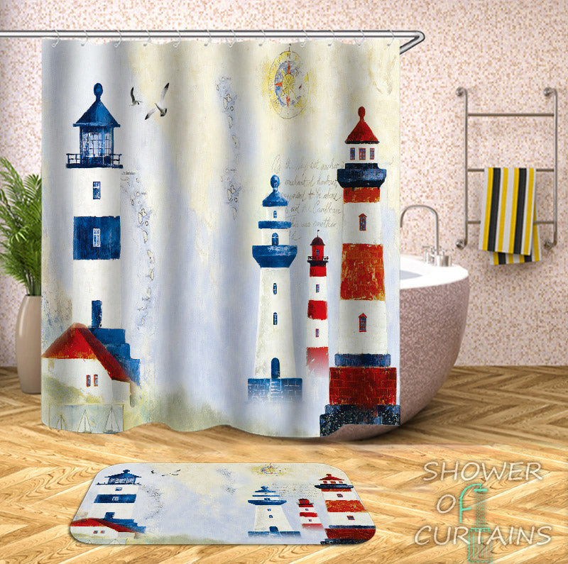 Lighthouse Shower Curtain - Old Town Lighthouse Painting - Nautical Bathroom Decor