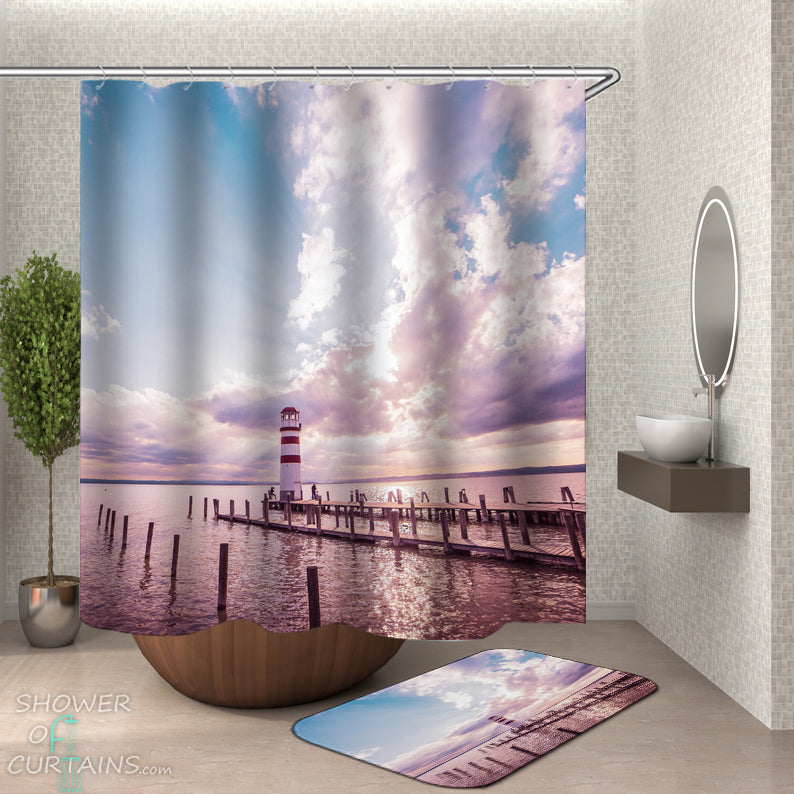 Lighthouse Shower Curtain of Lighthouse On The Horizon