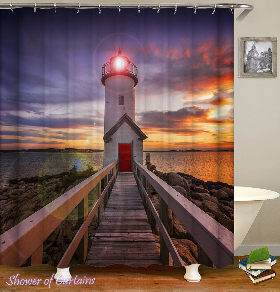 Lighthouse Sunset shower curtains