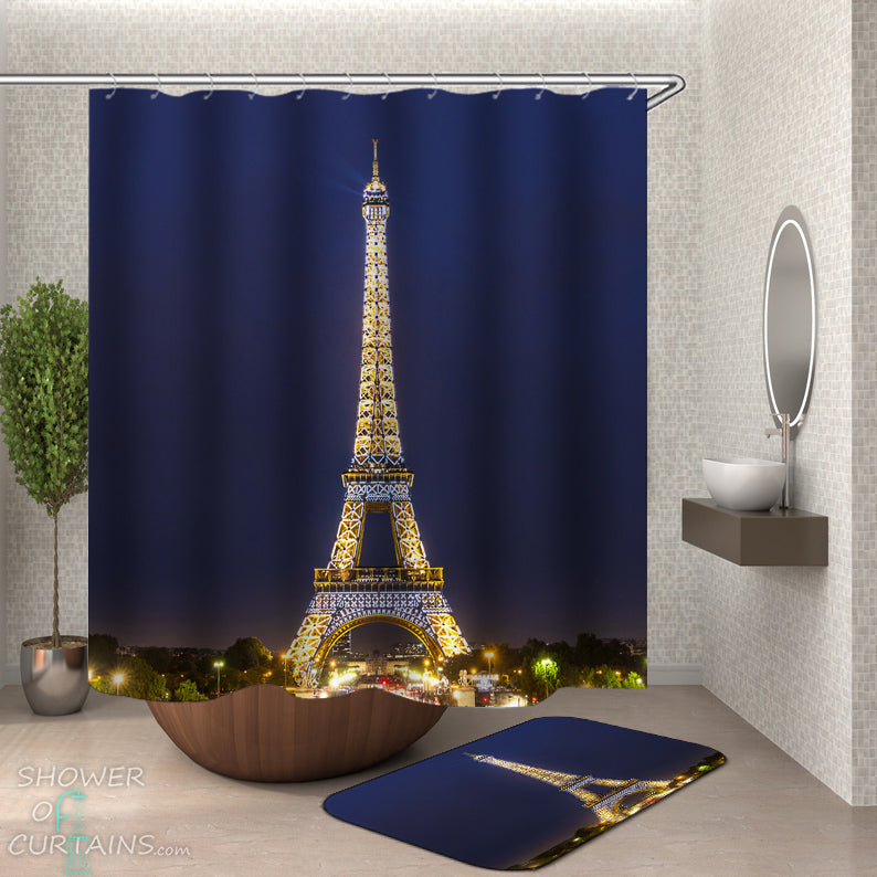 Lit Eiffel Tower Shower Curtain